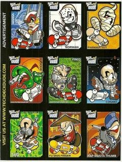 TECH DECK DUDE Sheet of 9 Perforated Trading Cards Magazine Ad