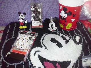 Mickey Mouse Fabric Shower Curtain with Decorative Hooks Rug Soap Pump