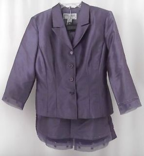 Womens Jessica Howard 2 Piece Skirt Jacket Purple Set Outfit Sequins