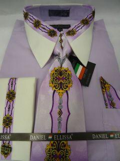 Mens daniel ellissa red black french cuff dress shirt tie for Daniel ellissa men s dress shirts