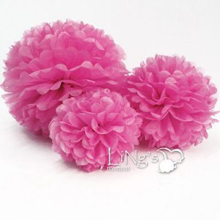 Fuchsia Tissue Paper Pom Poms Flower Wedding Party Home Outdoor Decor