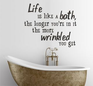 Life is like a bath wall sticker quote, bathroom home decor art