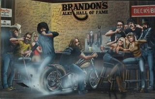 David Mann Art Poster Brandon's Alky Hall of Fame Print Motorcycle