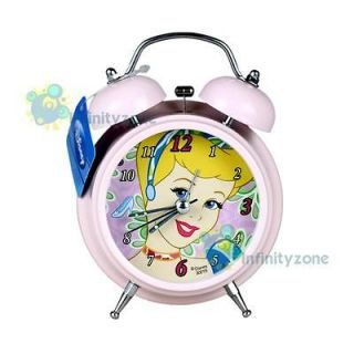 Disney PRINCESS CINDERELLA Twin Bell Alarm Desktop Clock w Light NEW