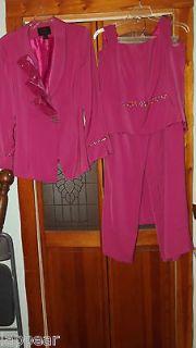 Ladies AsHro Raspberry 4 Piece Suit W/ Sequins Sz 20 Sleeveless Top