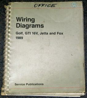 1989 VW Volkswagen Golf GTI 16V Jetta Fox Wiring Diagram Manual