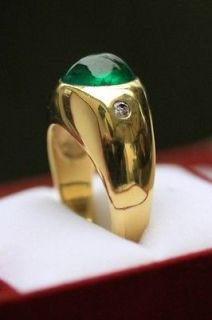 Gold Emerald cabochon and Diamond mens Ring ~ Its good to be Green