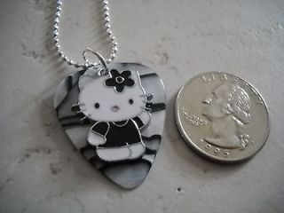 DESIGN YOUR OWN Hello Kitty BLACK/WHITE PEARLIZED Guitar Pick Necklace