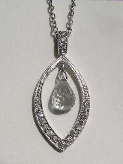 Frances 18kt White Gold Diamond and White Topaz Necklace / Pendant