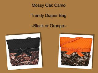 Mossy Oak Camouflage Camo Diaper Bag Tote Changing Pad~BLACK ORANGE