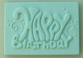 Happy Birthday Plaque Silicone Mould 4 Cake Decorating, Fimo by
