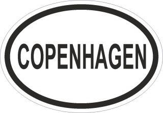 COPENHAGEN CITY COUNTRY CODE OVAL STICKER bumper Autocollant decal
