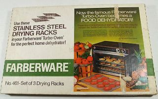 SET OF THREE 3 STAINLESS STEEL DRYING RACKS TRAYS #461 DEHYDRATOR NIB