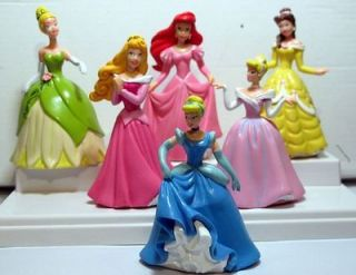Disney Princess Cinderella Belle Ariel Aurora Figures Lot Of 6pc Cake
