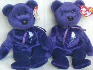 Princess Diana 1997 Beanie Baby Babies #400 #405 P.E. Pellets