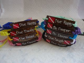 Scuba Dive Flag Message Wristband Bracelet Band Real Coconut Charm