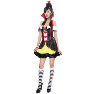 Black Queen Of Hearts Crown Collar Dress Stocking M Size