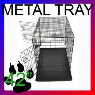 42 Portable Folding Dog Pet Crate Cage Kennel Two Door Metal Tray