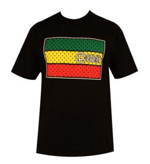 NEW ITEM CALIS FINEST CLOTHING RASTA FLAG BLACK T SHIRT REGGAE