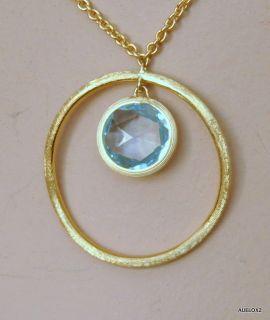 1790 MARCO BICEGO 18K Gold Blue Topaz Circle Pendant Necklace SALE