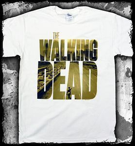 THE WALKING DEAD Zombie Mens Two Picture Logo T  Shirt Official