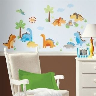 wall stickers 42 colorful decals baby dinosaurs trees hatching eggs