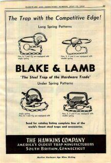 1948 Blake Lamb Steel Leg Hold Traps Hawkins Iver Johnson Bicycles