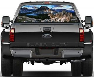 Mountains & Lakes 3 Wolves Rear Window Graphic Decal Sticker Tint