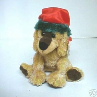 , retired 2001 TY Beanie Babie Christmas dog wearing Santa Claus hat