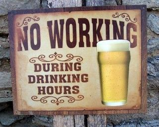 Vintage Style No Working Drinking Beer Sign Metal Retro Ad Wall Garage