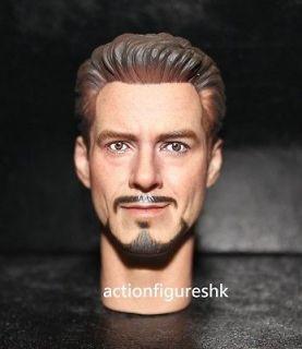Custom 1/6 Tony Stark Robert Downey Jr. head The Avengers iron man 2