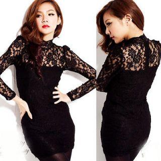 Retro High neck See through Lace Nightclub Black Party Mini Dress