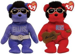 TY Beanie Babies ELVIS Bears Beanie Hawaii   Purple / Heartbear Hotel