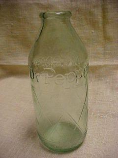 Vintage 1960s Aqua Glass Dr Pepper Soda Drink Gernade Design Bottle