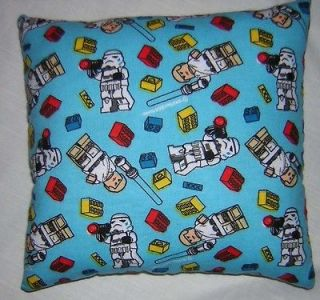 New ** STAR WARS ** LEGO ** FLANNEL ** Fabric PILLOW Handmade in