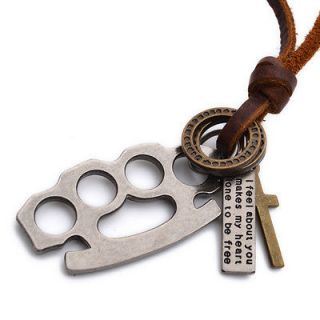 Vintage Brass Knuckles Ring Cross Mens Pendant Leather Chain Necklace