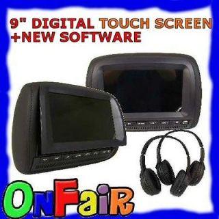 BLACK 9 inch DIGITAL TOUCH SCREEN Car DVD Headrest Monitor Players