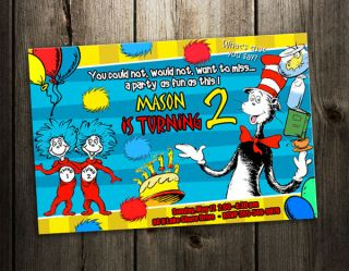 DR. SEUSS BIRTHDAY PARTY INVITATION CAT IN THE HAT CARD CUSTOM 1ST