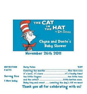 Candy Wrappers/Party Favors Dr Seuss cat in the hat baby shower