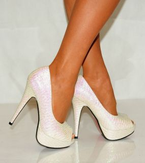 LADIES WHITE IVORY SATIN WEDDING PROM PARTY SILVER HIGH HEELS SHOES