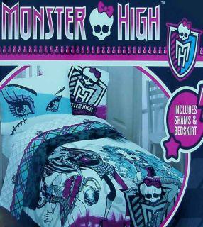 MONSTER HIGH FASHION FULL COMFORTER SHAMS BEDSKIRT 4PC BEDDING SET NEW