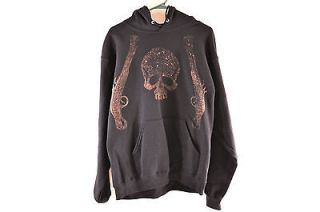 Black Hoodie Brown Gun fade Skull Crossbones Punk Pirate DIY One of a