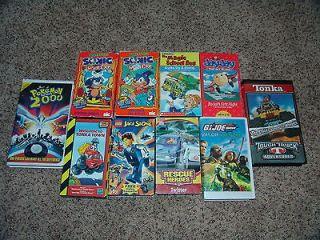 10 Boys VHS Videos ~ Sonic, Lego, Jay Jay, Rescue Heros, Pokemon, G.I