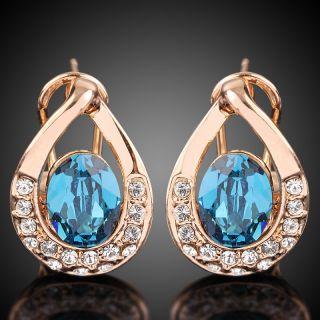 Swarovski Crystal rose/white gold GP saphire Earring stud a790/l83