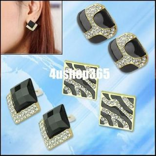 Vintage Cute Black Glazed Rhinestone Square Ear Stud Pin Earrings