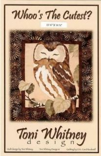 WHOOS THE CUTEST? OWL APPLIQUE QUILT PATTERN WHITNE Y