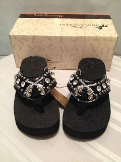 Montana West Rhinestone Bling Flip Flop Wedges, black with Pistols