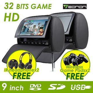 C1037 2x9 HD LCD In Car Black Pillow Headrest DVD Player IR Headphone