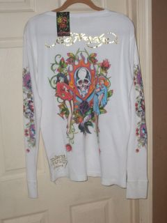 Ed Hardy 100% Cotton Waffle Texture Soft Thermal Long Sleeve Tee XL