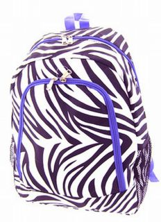 16.5 Purple Zebra Backpack School Book Bag Dance Travel Sport